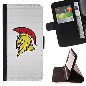 BullDog Case - FOR/Sony Xperia Z1 L39 / - / Sparta Spartan Roman Warrior Helmet /- Monedero de cuero de la PU Llevar cubierta de la caja con el ID Credit Card Slots Flip funda de cuer