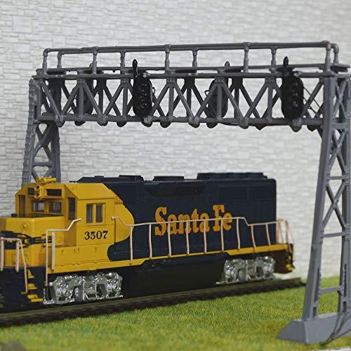 FidgetKute 1 x HO Scale Model Railroad Train Signal Bridge LED 3 aspects Double Track Grey Show One Size
