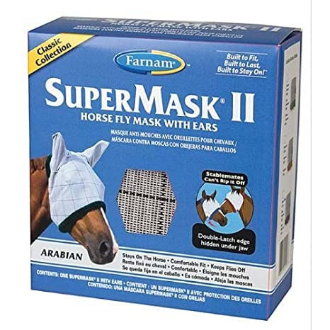Amazon.com : Farnam Super Mask II Horse Fly Mask Classic Collection with Ears, Assorted, Arabian : Facial Masks : Beauty