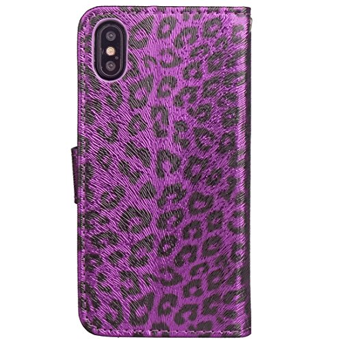 Protege tu iPhone, Para iPhone X patrón de leopardo horizontal Flip caja de cuero con titular y ranuras para tarjetas y marco de la carpeta y de la foto Para el teléfono celular de Iphone. ( Talla : I