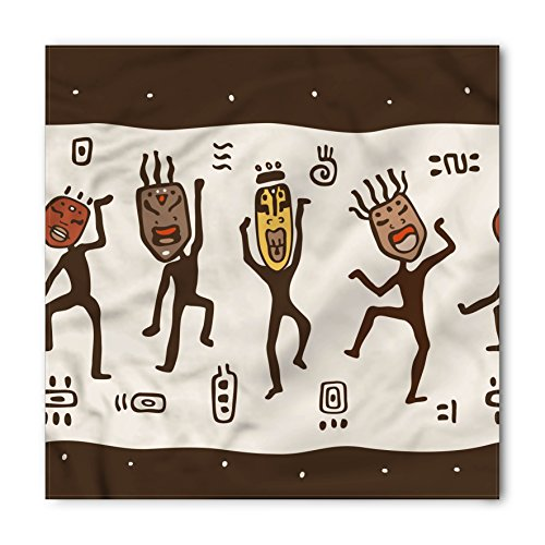 Primitive Bandana by Ambesonne, Cartoon Dancing Natives Wearing African Masks Prehistoric Rituals, Printed Unisex Bandana Head and Neck Tie Scarf Headband, 23 X 22 Inches, Army Green Beige - Ban Shop Army