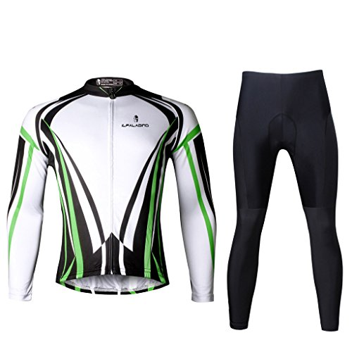 Paladinsport Men's Green Long Sleeve Bike Clothes 100% Polyester Bicycle Jerseys And Pants Set Size 5XL