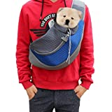 Lily's Pet Single Shoulder Carrier Soft Mesh Pet Dog Portable Hands Free Sling Bag Head Out for Puppy Cat Rabbit Guinea Pig Pet Travel Carrier Pouch Suit for pets up to 13.2lb Blue