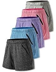 Liberty Imports Pack de 5 pantalones cortos de entrenamiento de yoga para mujer de secado rápido con bolsillos con cremallera