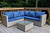 Oliver Smith – Large 4 Pc Modern Beige Rattan Wiker Sectional Sofa Set Outdoor Patio Furniture – Fully Assembled – Aluminum Frame with Ottoman – Blue