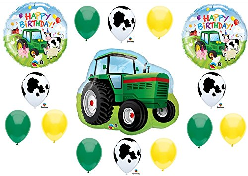 Tractor Birthday Party Balloons Decorations Farm Animal Cow John Deere Shower (MULTI, 1) by -