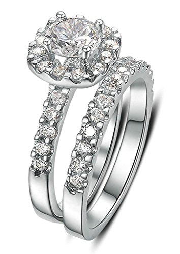 Two Finger Any Name Ring - AnaZoz 18K Gold Plated Women Ring Cubic Zirconia CZ Engagement Ring Vintage Set