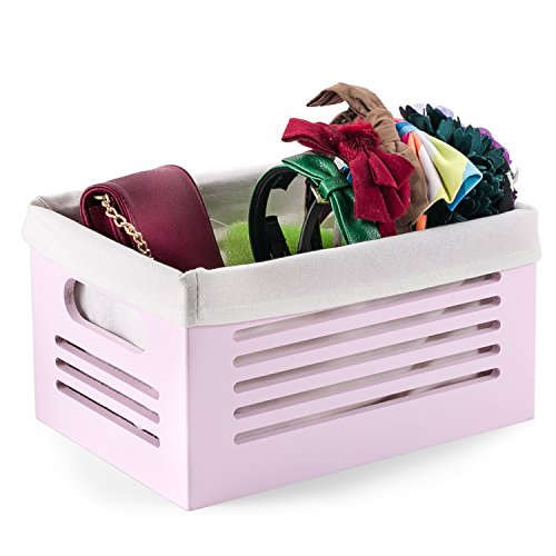 Wooden Storage Bin Container - Decorative Closet, Cabinet and Shelf Basket Organizer Lined With Machine Washable Soft Linen Fabric - Pink, Small - By Creative (No Tool Halloween Nail Art)
