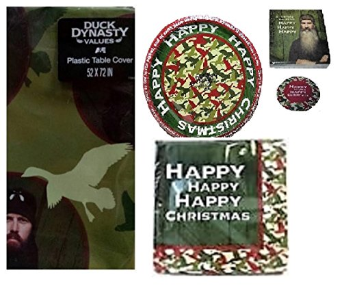 Duck Dynasty Christmas Party Pack for 16 Guests! Limited Edition- Table Cover, Plates and Napkins And Bonus 8 Coasters