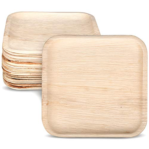 "Palm Leaf Plates. Compostable Bamboo-Style. 7"" Square 25pk. Disposable, Biodegradable Plates - Eco-Friendly - All-Natural, Super-Sturdy Areca Palm Leaf Plates"