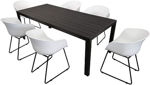 Sedie Da Giardino Bianche.Kmh Gruppo Di Sedie Da Giardino 1 Tavolo Nero 205 Cm E 6 Sedie