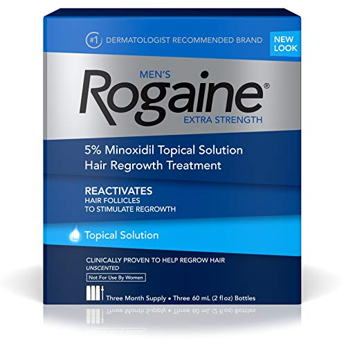 (Men's Rogaine Extra Strength 5% Minoxidil Topical Solution for Hair Loss and Hair Regrowth, Topical Treatment for Thinning Hair, 3-Month Supply)
