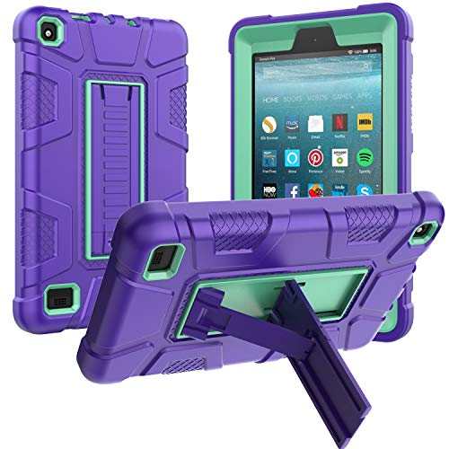 All-New Amazon Fire 7 Tablet Case (9th Generation, 2019 Release only), Rugged Kickstand Series - Shockproof Heavy Duty Hybrid Three Layer Armor Defender Kids Child Proof Case Cover - Purple Teal