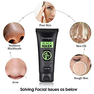 Yovanpur Blackhead Peel Off Mask, Face Mask, Blackhead Remover Mask Black Mask Deep Cleaing Facial Mask for Face Nose 60g (Black Mask with Brush)