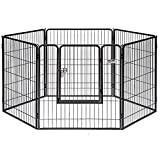 Petmate Courtyard Exercise Pen Drop Pin Design Walk-In Door Silver Crackle Finish