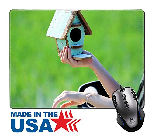 Msd Natural Rubber Mouse Pad Mat With Stitched Edges 9 8  X 7 9  Woman Holding Bird House Outside Window S Car Image 21567170