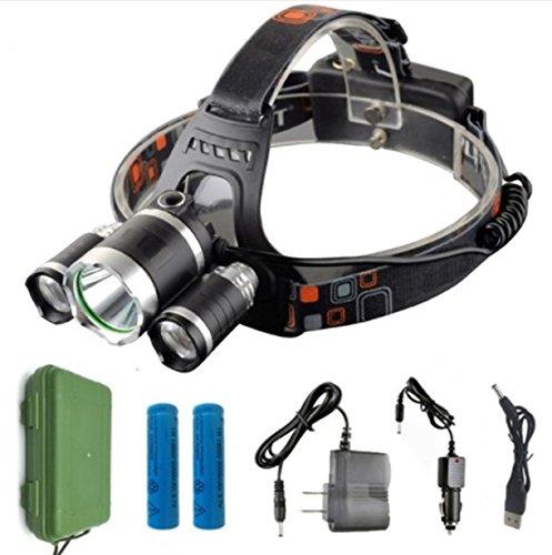 1 Pack 13000 Lumen XM-L T6 R5 LED Flashlight Headlamp Headlight 4 Modes 50W Head Lamp Garnished Fashionable Ultra Xtreme Waterproof Hiking Hunting Fishing Light w/ 18650 Battery Charger, ()