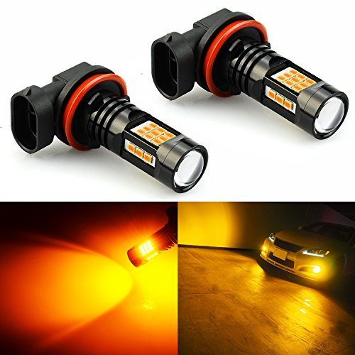 JDM ASTAR 2400 Lumens Extremely Bright PX Chips H11 H8 LED Fog Light Bulbs for DRL or Fog Lights, Amber Yellow