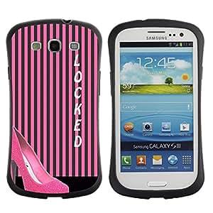 Paccase / Suave TPU GEL Caso Carcasa de Protección Funda para - Stiletto Pink Lines Black Locked - Samsung Galaxy S3 I9300