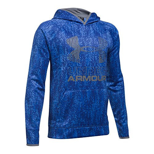 Under Armour Boys' Armour Fleece Printed Big Logo Hoodie, Ultra Blue/Ultra Blue, Youth Large