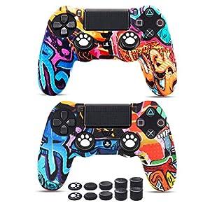 6amLifestyle Funda Protectora Antideslizante de Silicona para Mando PS4, Carcasa para Sony PS4 / PS4 Pro / PS4 Slim Controller (Pintada 2 Fundas de Mando PS4 10 Thumb Grips PS4) 51sITry9VXL