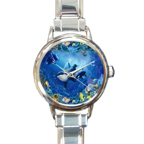 Friends/Sisters/Brothers Gifts Sea World Killer Whales & Fishes Round Italian Charm Watch