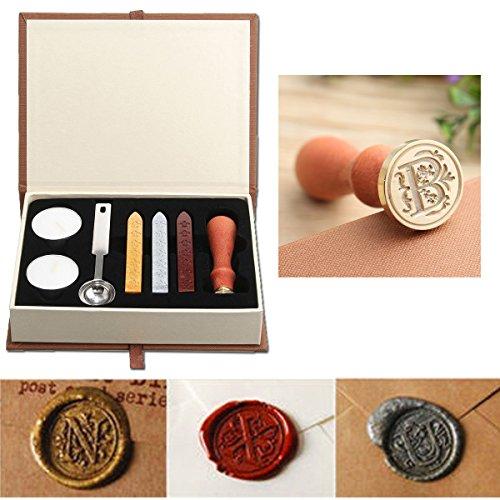 Wax Seal Stamp Kit,Mingting Vintage Wax Stamp Seal Kit Initial Letters Alphabet (B) (Sealing Wax Stamp B)