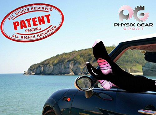 Physix Gear Compression Socks for Men & Women 20-30 mmhg, Best Graduated Athletic Fit for Running Nurses Shin Splints Flight Travel & Maternity Pregnancy - Boost Stamina Circulation & Recovery PNK LXL by Physix Gear Sport (Image #8)
