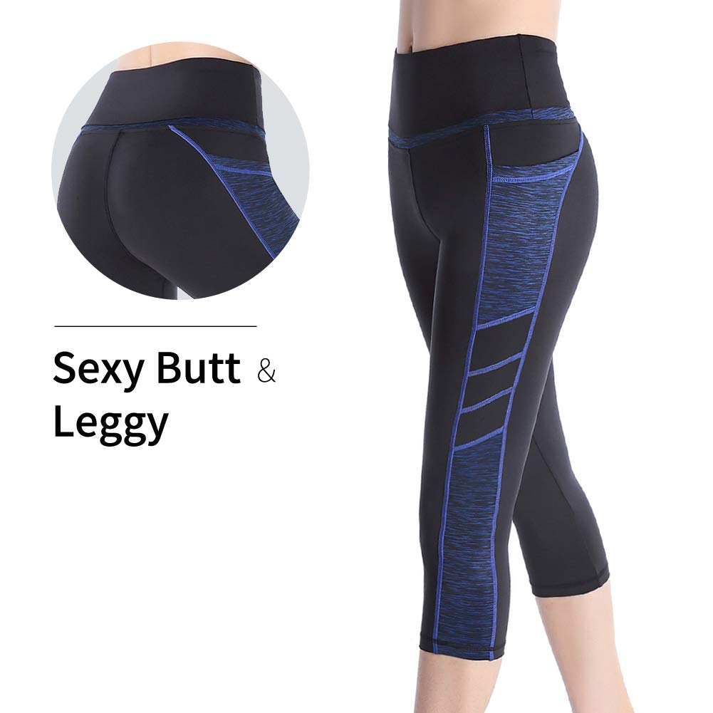 Picotee Women's Yoga Capri Pants Workout Running Pants Leggings High Waist with Pocket (XL, Blue)