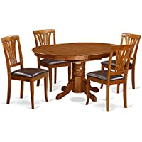East West Furniture AVON5-SBR-LC 5-Piece Dining Table Set, Saddle Brown Finish