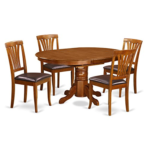East West Furniture AVON5-SBR-LC 5-Piece Dining Table Set, Saddle Brown Finish (Oval Room Dining Sets)