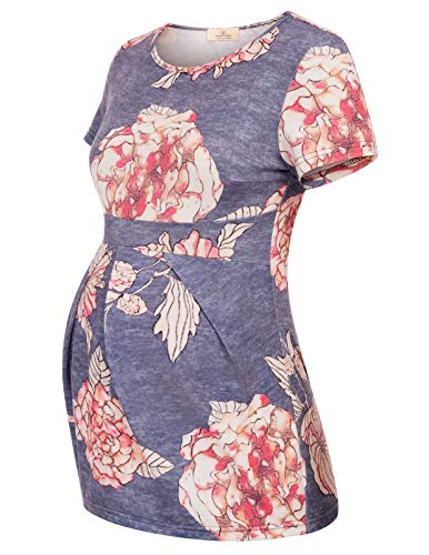 Women's Short Sleeve Floral Printed Front Pleated Maternity Top T-Shirts S 721-3