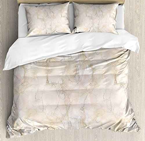 Funy Decor Marble Bedding Set,Pink and Peach Marble Background with Crack Patterns Architecture and Building Material,4 Piece Duvet Cover Set Bedspread for Childrens/Kids/Teens/Adults,Beige Twin Size