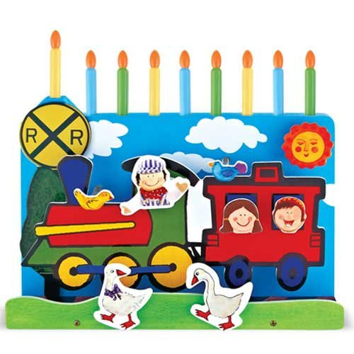 (Wooden Menorah w/Removable Candles - Train)