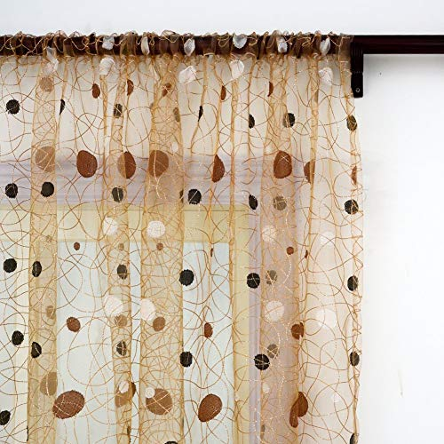 Top Finel Embroidered Sheer Curtains 96 inches Long Rod Pocket Polka Dot Brown Panels for Bedroom Window Treatment Drapes, 54