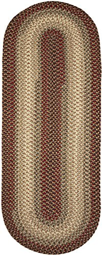 Super Area Rugs, Hartford Braided Indoor / Outdoor Rug Textured Durable Red Sunroom/Porch Carpet, 2' X 8' Oval (Oval Outdoor Braided Rug)