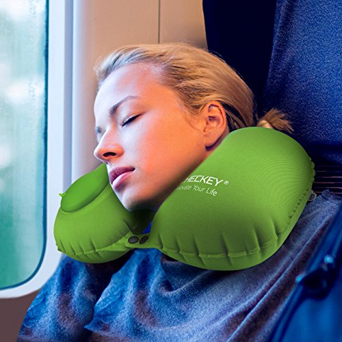 Green Neck Pillow (【Valentine's Day Gift】ICHECKEY Travel Neck Pillow U Shaped Self-Inflating Foldable Head, Neck & Chin Support Airplane Travel Pillows with Inflatable Air Pump - Green)