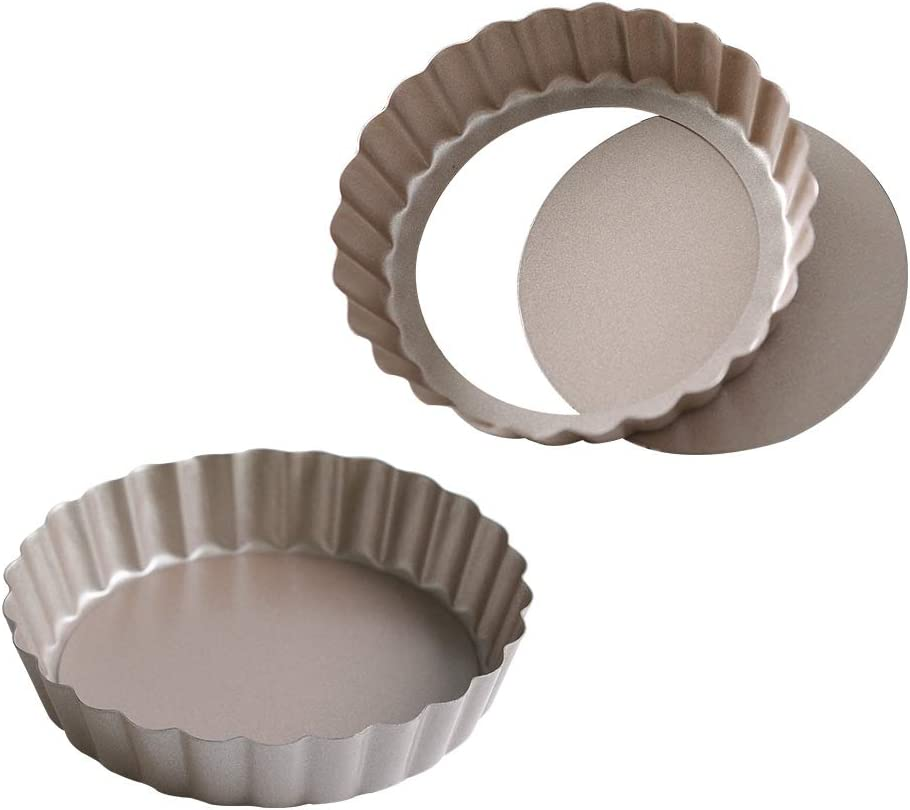 Bakerdream Round Non-stick Tart Pan Quiche Pan with Removable Bottom Mini Tart Pan Pie Pan with Loose Bottom, 5 Inch (Pack of 2)