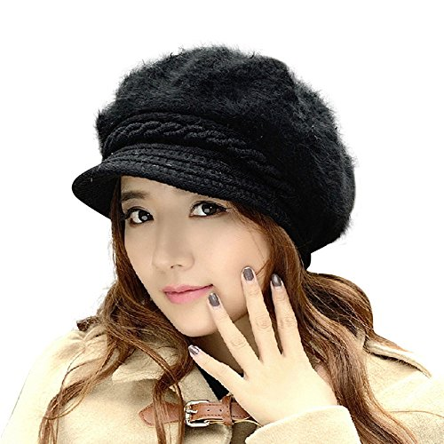 HINDAWI Winter Hats For Women Outdoor Warm Knit Snow Ski Crochet Skull Cap With Visor Black