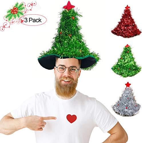 Funny Party Hats Santa Hat - Elf Hat - Christmas Tree Hat- 3 Packs -