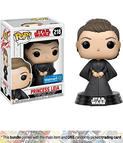 Princess Leia (Walmart Exclusive): Funko POP! x Star Wars - The Last Jedi Vinyl Figure + 1 Official Star Wars Trading Card Bundle [#218]