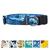Buttonsmith Van Gogh Starry Night Dog Collar, Size M-Wide - Fadeproof Permanently Bonded Printing, Military Grade Rustproof Buckle, Resistant to Odors & Mildew, 100% Made in USA