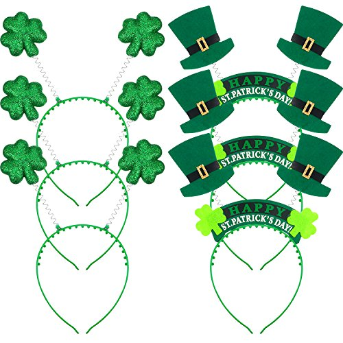 Hestya 6 Pieces Irish St. Patricks Day Green Shamrock Headband and Fabric Shamrock Head Bopper Hat for Spring Festive Party Head Wear (Head Craft Bopper Headband)