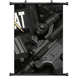 Gaming Wall Posters,Swat Submachine Gun Bulletproof Vest Ball Cartridges Home Decor Wall Scroll Poster Fabric Painting 23.6 X 35.4 Inch (60cm X 90 cm)