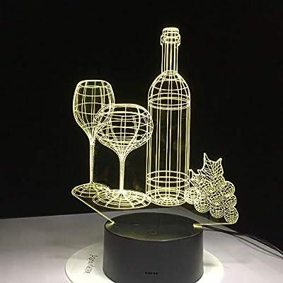Botella de Vidrio de Vino Pomelo ilusión óptica lámpara de ...