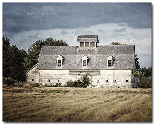 Farmhouse Style Old White Barn Landscape Photograph by Lisa Russo Fine Art Photography
