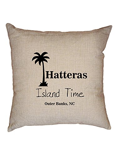(Hollywood Thread Outer Banks - Hatteras, NC - Island Time Palm Tree Decorative Linen Throw Cushion Pillow Case with Insert)