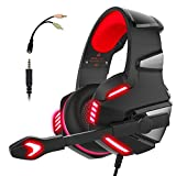 Micolindun Gaming Headset for PS4 Xbox One, Over Ear Gaming Headphones with Mic, Stereo Bass Surround, Noise Reduction, LED Lights and Volume Control for Laptop, PC, Mac, iPad, Smartphones (Red)