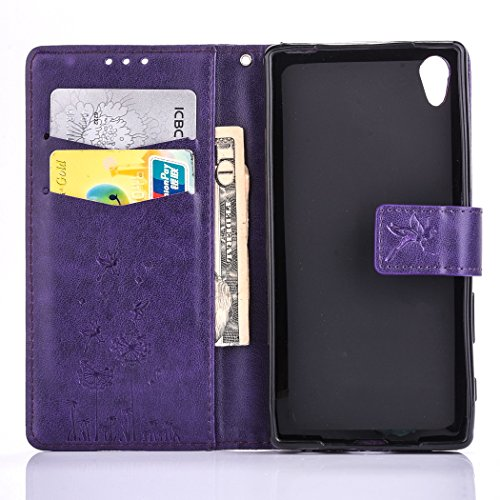 Sony Xperia X Case, Sony Xperia X Leather Case, Sony Xperia X Wallet Case,Cozy Hut Retro Vintage Embossed Plum Blossoms Pattern Pu Bookstyle Strap Leather Wallet Flip Protective Case Cover with Stand Purple Dandelion