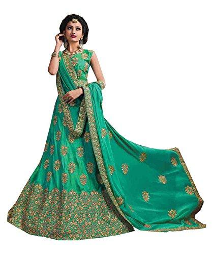PCC Womens Embroidery Emerald Color Striking Lehenga Choli 84044